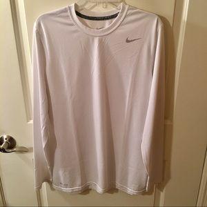 Nike Dri-Fit Long Sleeve White T-Shirt Size L